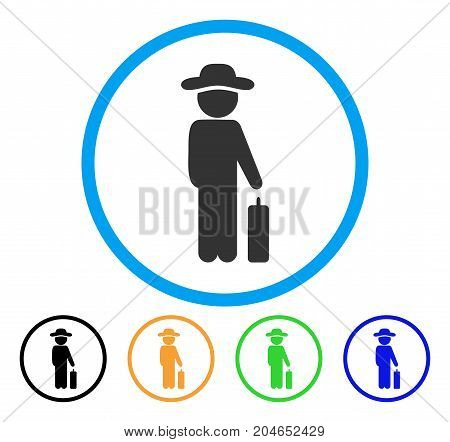 Gentleman Baggage icon. Vector illustration style is a flat iconic gentleman baggage grey rounded symbol inside light blue circle with black, green, blue, yellow color versions.
