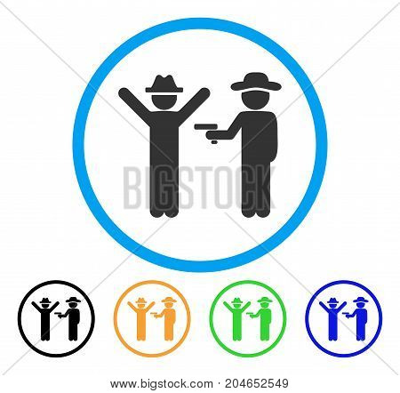 Gentleman Crime icon. Vector illustration style is a flat iconic gentleman crime grey rounded symbol inside light blue circle with black, green, blue, yellow color versions.