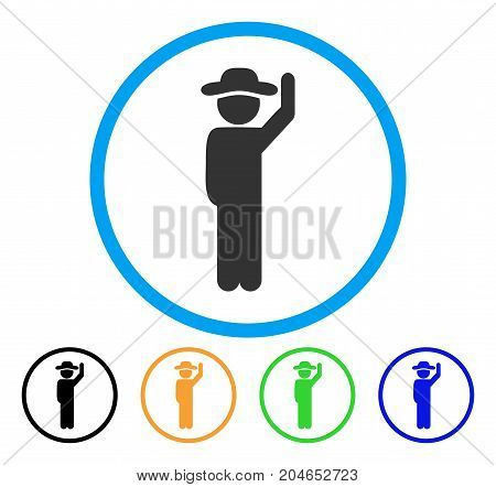 Gentleman Hello icon. Vector illustration style is a flat iconic gentleman hello grey rounded symbol inside light blue circle with black, green, blue, yellow color versions.