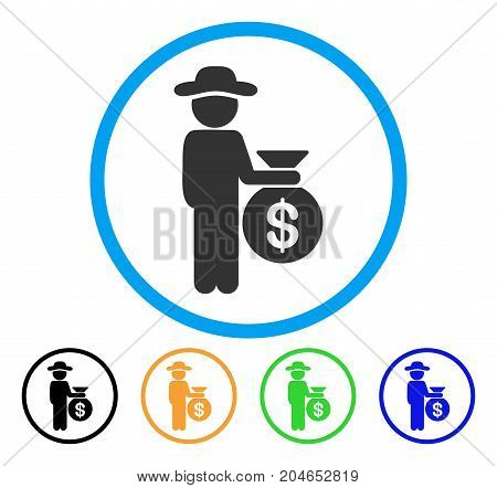 Gentleman Investor icon. Vector illustration style is a flat iconic gentleman investor gray rounded symbol inside light blue circle with black, green, blue, yellow color versions.