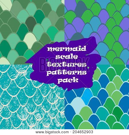mermaid scale texture pattern seamless pack. Nautical pattern fish skin. Texture for web, print, wallpaper, home decor, spring summer fashion fabric, textile, invitation or website background.Reptile skin texture.