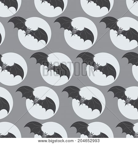 Bats in the Full Moon. Happy Halloween. Seamless pattern. Design for textiles, ceramics, packaging materials.