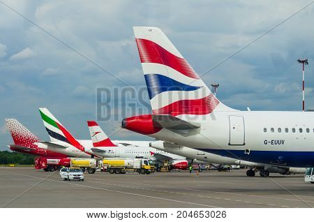 Aircraft Tails British Airways, Airport Pulkovo, Russia Saint-petersburg 10 August, 2017