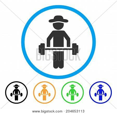 Gentleman Power Lifting icon. Vector illustration style is a flat iconic gentleman power lifting grey rounded symbol inside light blue circle with black, green, blue, yellow color versions.