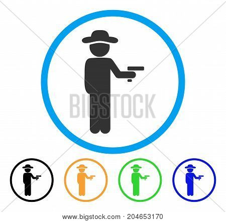 Gentleman Robber icon. Vector illustration style is a flat iconic gentleman robber gray rounded symbol inside light blue circle with black, green, blue, yellow color versions.