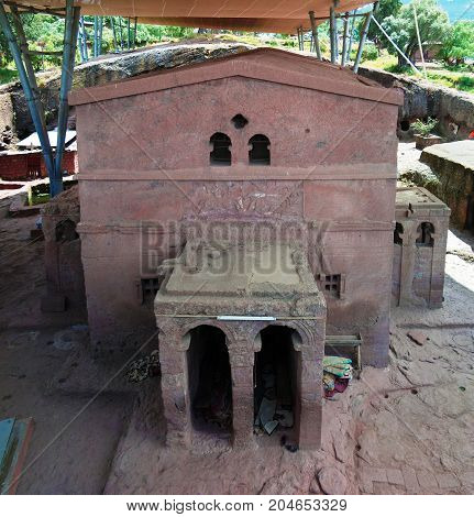 Biete Mariam rock-hewn church at Lalibela Ethiopia