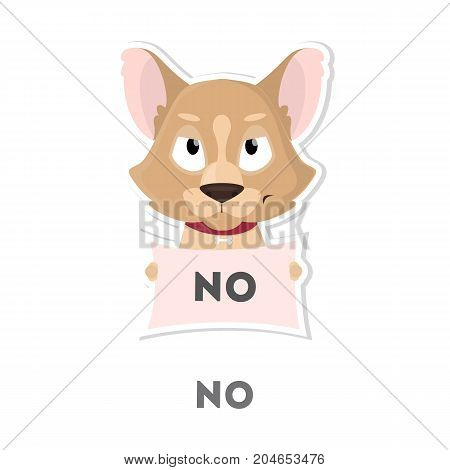 Isolated refusing dog on white background. Funny cartoon emoji.