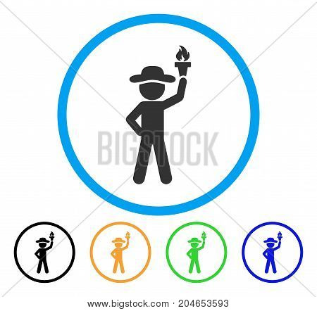 Gentleman With Freedom Torch icon. Vector illustration style is a flat iconic gentleman with freedom torch grey rounded symbol inside light blue circle with black, green, blue, yellow color versions.