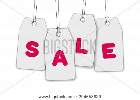 Hanging price tags with inscription SALE. White paper label isolated on white background. Realistic vector illustration for promo and sale advertising, banner