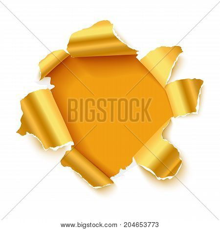 Hole in white paper with glossy gold torn sidesand with space for text. Realistic vector torn paper for sale promo, web banners