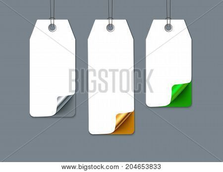 Numbered sale tags with curl corner. Realistic vector paper. Template for promo design