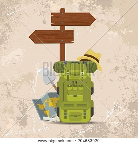 Vector wooden directional signpost or arrow with backpacks. Camping concept illustrated vector design with grunge background.