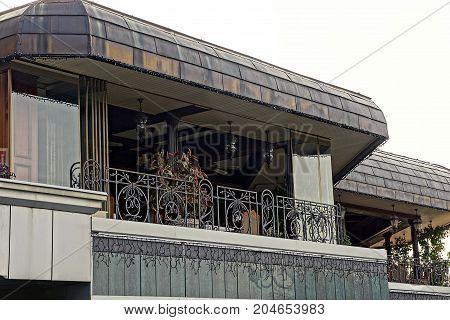 Open verandah on the balcony against the sky