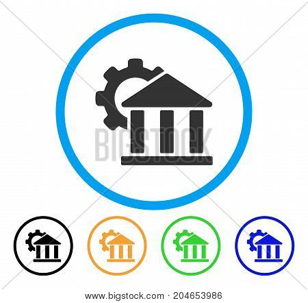 Bank Settings icon. Vector illustration style is a flat iconic bank settings gray rounded symbol inside light blue circle with black, green, blue, yellow color variants.