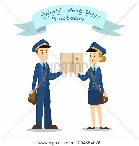 Isolated post couple with box on white background