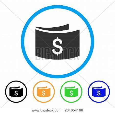 Banknotes icon. Vector illustration style is a flat iconic banknotes gray rounded symbol inside light blue circle with black, green, blue, yellow color variants.