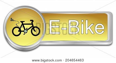 glossy golden E-Bike Button - 3D illustration