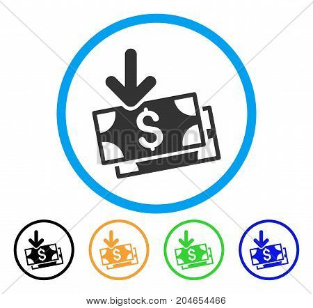 Get Banknotes icon. Vector illustration style is a flat iconic get banknotes gray rounded symbol inside light blue circle with black, green, blue, yellow color versions.