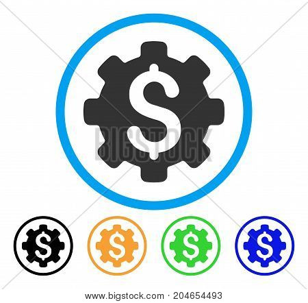 Industrial Capital icon. Vector illustration style is a flat iconic industrial capital gray rounded symbol inside light blue circle with black, green, blue, yellow color versions.
