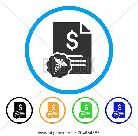 Medical Invoice icon. Vector illustration style is a flat iconic medical invoice gray rounded symbol inside light blue circle with black, green, blue, yellow color variants.
