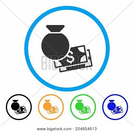 Money Bag icon. Vector illustration style is a flat iconic money bag grey rounded symbol inside light blue circle with black, green, blue, yellow color versions.