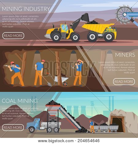 Set of flat horizontal banners with mining industry, workers with tools, coal extraction isolated vector illustration