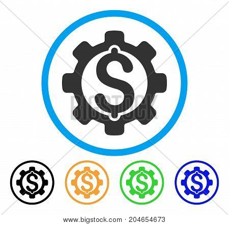 Payment Options icon. Vector illustration style is a flat iconic payment options gray rounded symbol inside light blue circle with black, green, blue, yellow color variants.