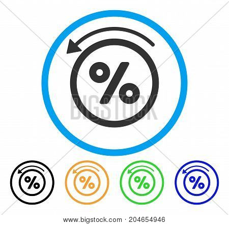 Rebate Percent icon. Vector illustration style is a flat iconic rebate percent gray rounded symbol inside light blue circle with black, green, blue, yellow color variants.