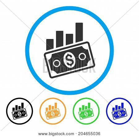 Sales Bar Chart icon. Vector illustration style is a flat iconic sales bar chart gray rounded symbol inside light blue circle with black, green, blue, yellow color variants.