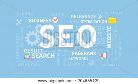 SEO concept illustration. Idea of optimization, browser and sites.