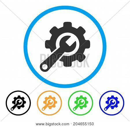 Tools icon. Vector illustration style is a flat iconic tools grey rounded symbol inside light blue circle with black, green, blue, yellow color variants. Designed for web and software interfaces.