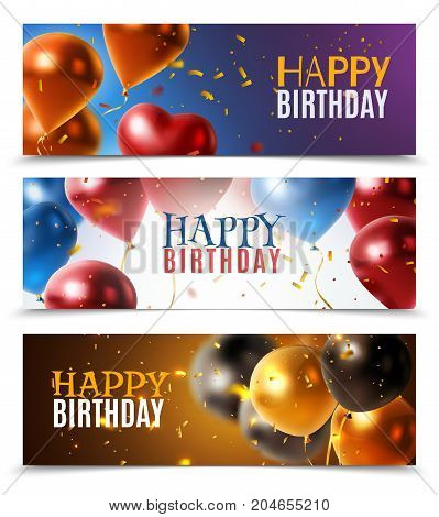 Happy birthday horizontal banners set with colorful glossy festive balloons realistic isolated vector illustration
