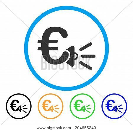 Euro Ads Megaphone icon. Vector illustration style is a flat iconic euro ads megaphone grey rounded symbol inside light blue circle with black, green, blue, yellow color variants.
