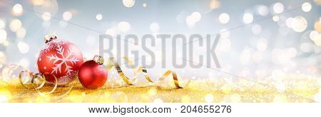 decoration, ball, christmas, shiny, banner, lights, ribbon, spheres, bokeh, still life, bright, invitation, card, ornament, background, horizontal, merry, new year, baubles, golden, red, glitter, copy space, holiday