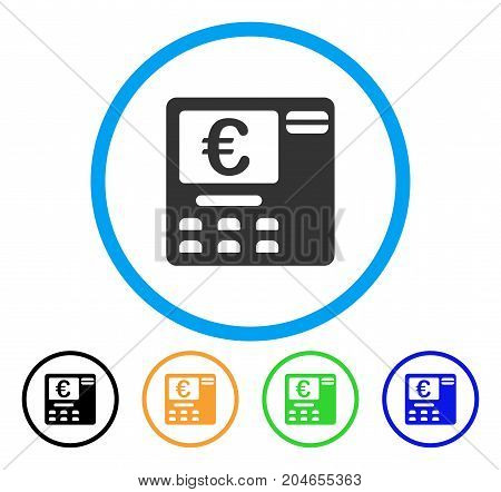 Euro ATM icon. Vector illustration style is a flat iconic euro ATM grey rounded symbol inside light blue circle with black, green, blue, yellow color versions.