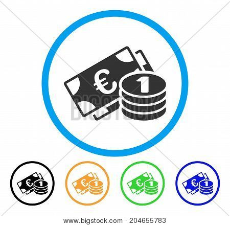 Euro Cash icon. Vector illustration style is a flat iconic euro cash gray rounded symbol inside light blue circle with black, green, blue, yellow color versions.
