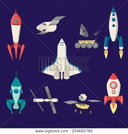Space ships set. Rockets and shuttle, sputnic and more.