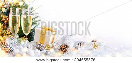 New Year Celebration With Champagne And Christmas Decoration