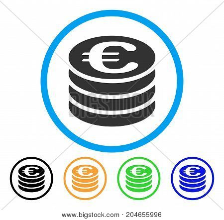 Euro Coin Stack icon. Vector illustration style is a flat iconic euro coin stack gray rounded symbol inside light blue circle with black, green, blue, yellow color variants.