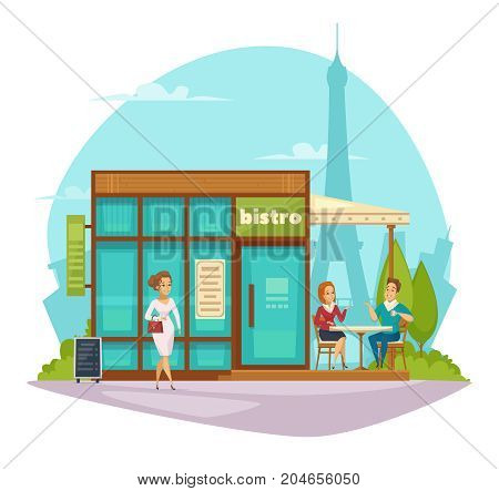 Street cafe bistro summer terrace awning flat composition with customers and eiffel tower on background  vector illustration