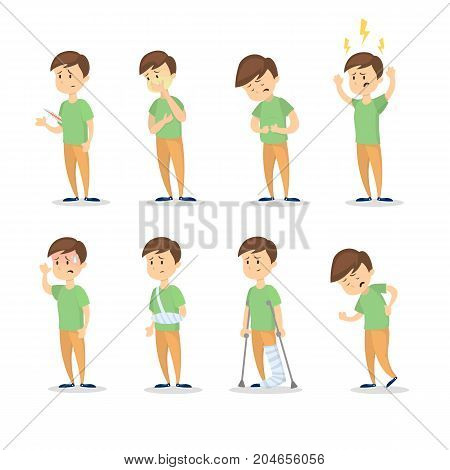 Symptoms with man set on white background.