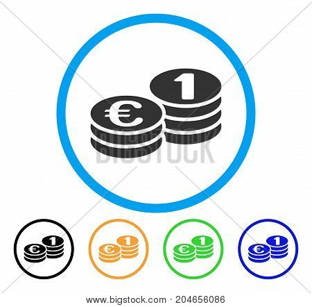 Euro Coins icon. Vector illustration style is a flat iconic euro coins gray rounded symbol inside light blue circle with black, green, blue, yellow color versions.
