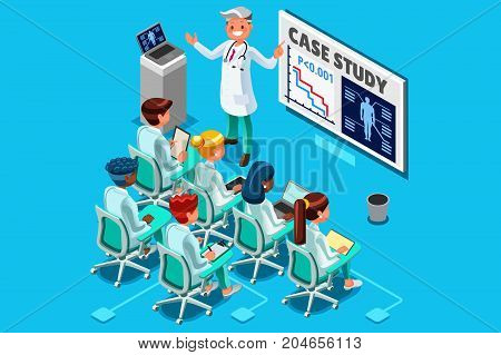 Clinic medical research trial isometric people meeting or doctor training health infograph 3D flat cartoon character vector illustration.