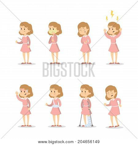 Symptoms with woman set on white background.