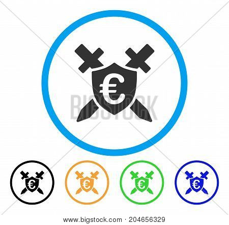 Euro Guard Shield icon. Vector illustration style is a flat iconic euro guard shield grey rounded symbol inside light blue circle with black, green, blue, yellow color variants.