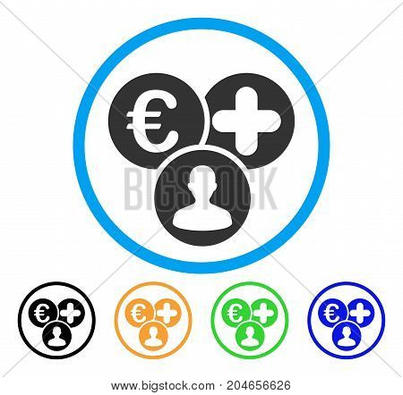 Euro Medical Expences icon. Vector illustration style is a flat iconic euro medical expences grey rounded symbol inside light blue circle with black, green, blue, yellow color variants.