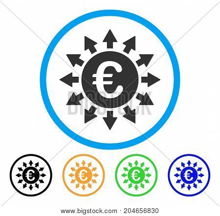 Euro Payments icon. Vector illustration style is a flat iconic euro payments grey rounded symbol inside light blue circle with black, green, blue, yellow color versions.