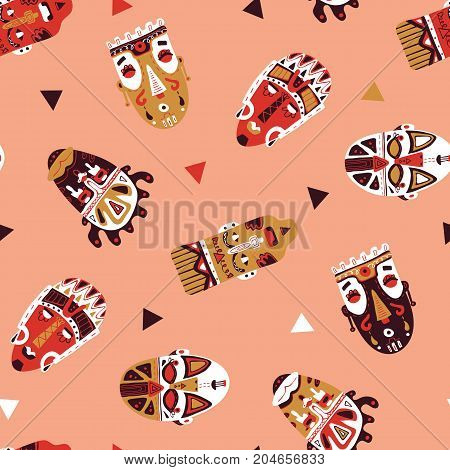 seamless vector doodle hand drawn pattern with detailed African masks for wallpapers, scrapbooking, web page backgrounds,textile