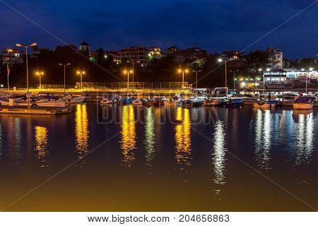 CHERNOMORETS, BULGARIA - AUGUST 15, 2017: Amazing Night seascape of port of Chernomorets, Burgas region, Bulgaria
