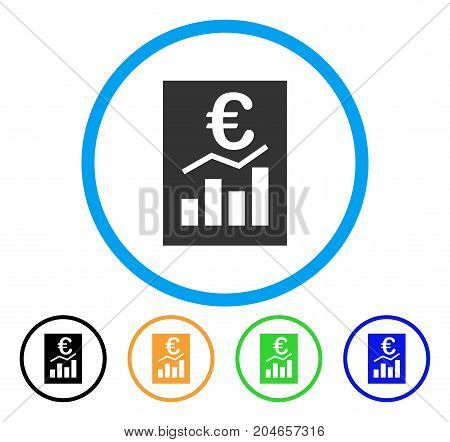 Euro Sale Report icon. Vector illustration style is a flat iconic euro sale report grey rounded symbol inside light blue circle with black, green, blue, yellow color versions.